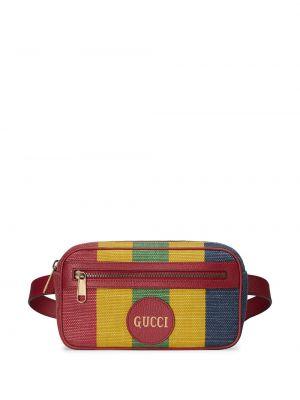 Pasek skórzany w paski z paskiem Gucci