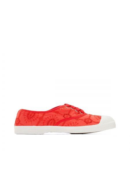 Красные кроссовки на шнуровке Bensimon
