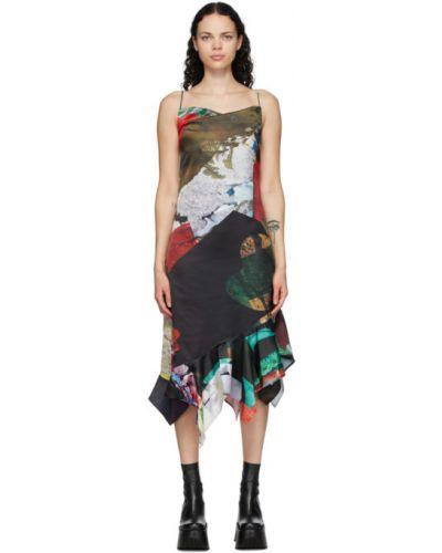 Satyna asymetryczny sukienka z kołnierzem plac Marques Almeida