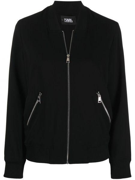 С рукавами черная ветровка на молнии Karl Lagerfeld