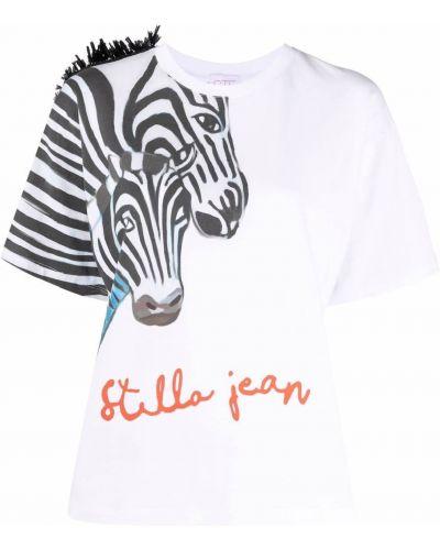Прямая хлопковая белая футболка Stella Jean