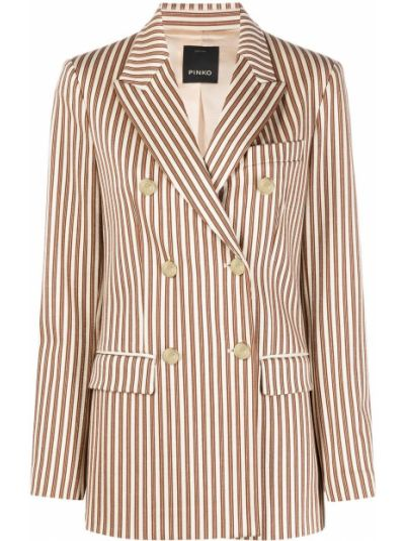 Удлиненный пиджак двубортный в полоску на пуговицах Pinko