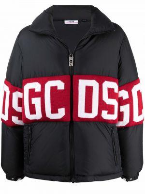Черный пуховик с логотипом Gcds