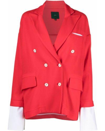 Красный удлиненный пиджак двубортный с карманами Jejia