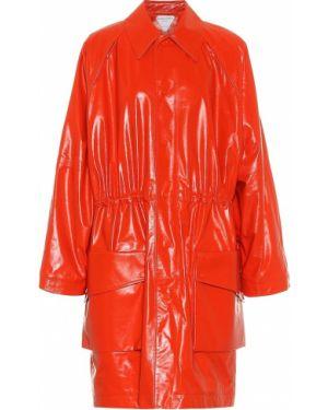 Pomarańczowy płaszcz skórzany do pracy Bottega Veneta