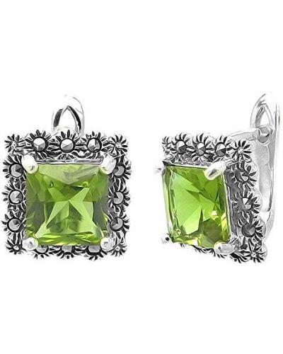 Серьги винтажные - зеленые Evora
