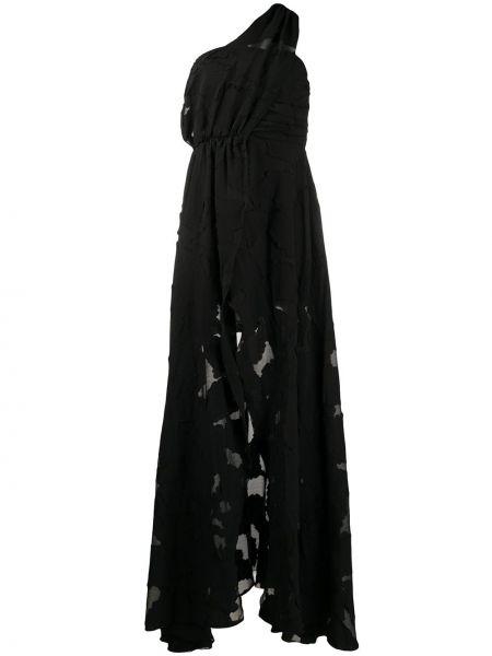 Черное плиссированное вечернее платье прозрачное из вискозы Federica Tosi