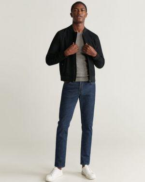 Черная куртка с манжетами с карманами круглая Mango