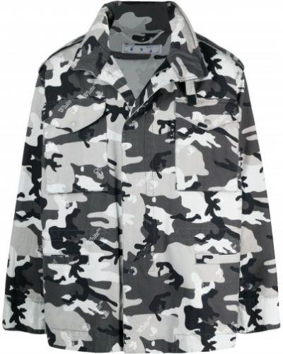 Czarna długa kurtka z kapturem bawełniana Off-white