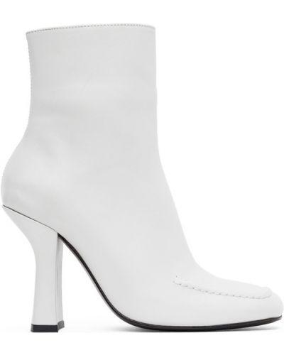 Черные сапоги без каблука на каблуке квадратные из натуральной кожи Dorateymur