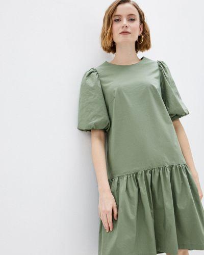 Прямое зеленое платье А-силуэта Blauz