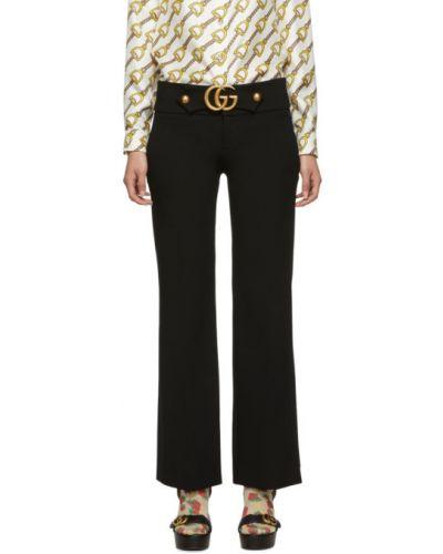 Spodni czarny spodnie z kieszeniami z wiskozy Gucci