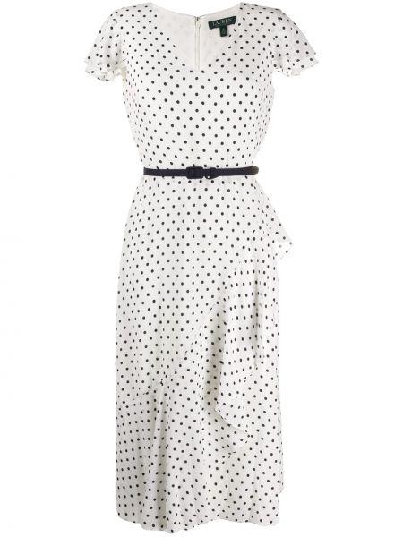 Платье макси в горошек с V-образным вырезом Polo Ralph Lauren