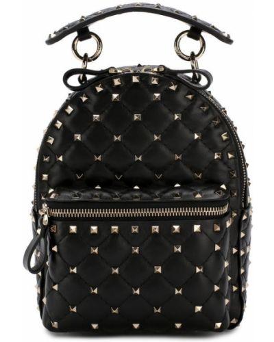 Кожаный рюкзак черный маленький Valentino