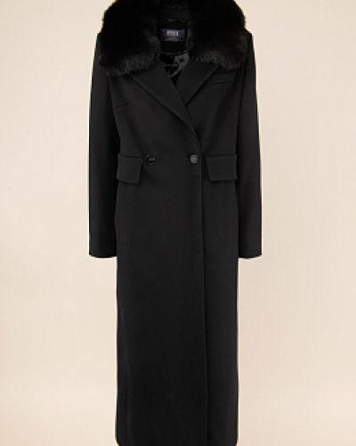 Шерстяное черное длинное пальто с воротником каляев