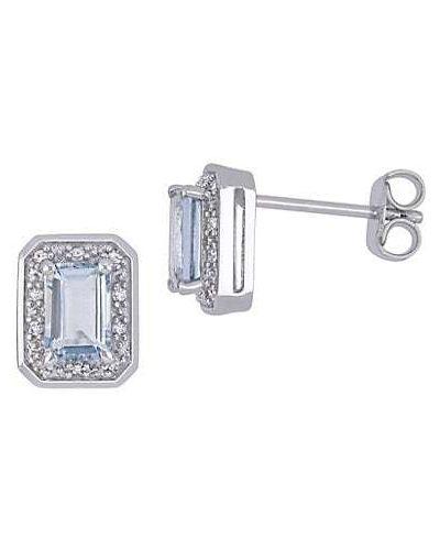 Белые серьги-гвоздики с бриллиантом круглые Sonatina