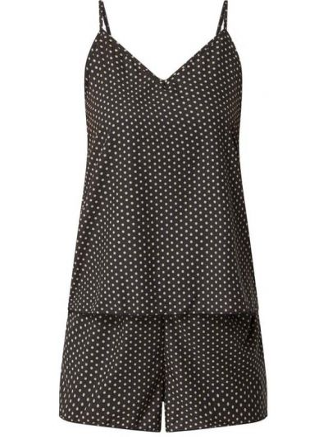Czarna spodni piżama z dekoltem w serek z nylonu Ichi