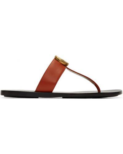 Skórzany czarny sandały okrągły okrągły nos Gucci