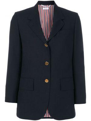 Шерстяной синий классический пиджак с карманами на пуговицах Thom Browne