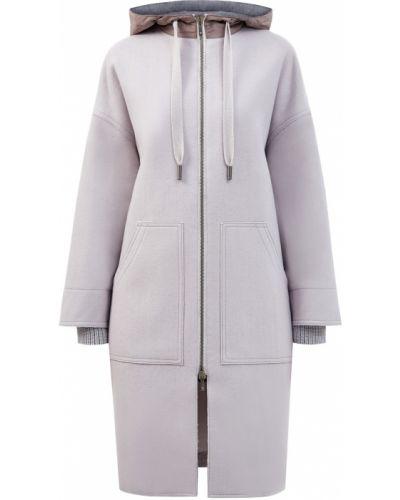 Серое шерстяное длинное пальто с капюшоном Lorena Antoniazzi