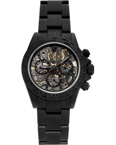 Czarny złoty zegarek mechaniczny szafir Mad Paris