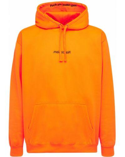 Pomarańczowa bluza dresowa z kapturem Famt - Fuck Art Make Tees