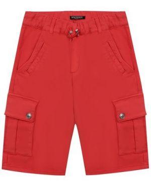 С кулиской хлопковые красные шорты с поясом Balmain