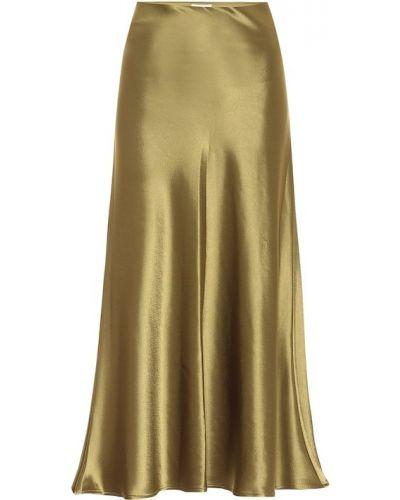 Зеленая сатиновая юбка миди Galvan