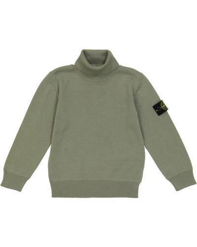 Шерстяной свитер - зеленый Stone Island Junior