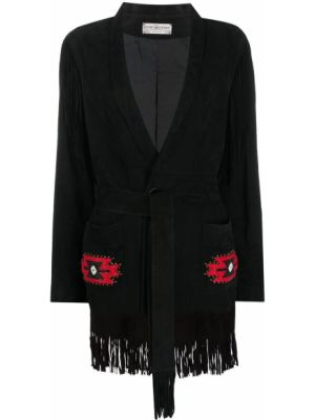 Коричневая куртка на пуговицах с лацканами с кисточками Jessie Western