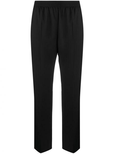 Брючные шерстяные черные прямые укороченные брюки Agnona