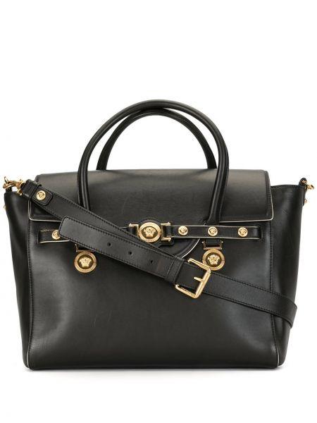 Золотистая черная сумка-тоут круглая с заклепками Versace Pre-owned
