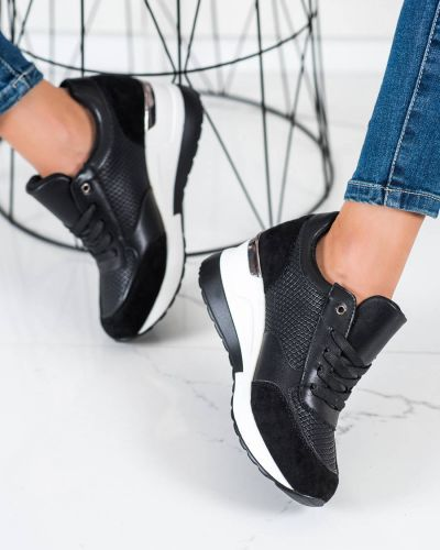 Czarne sneakersy casual Shelovet