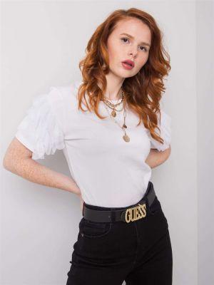 Biały t-shirt bawełniany z falbanami Fashionhunters