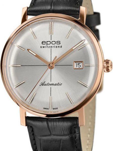 Часы механические водонепроницаемые с кожаным ремешком Epos