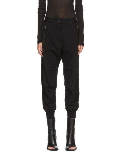 Махровые черные брюки дудочки с карманами с манжетами Haider Ackermann