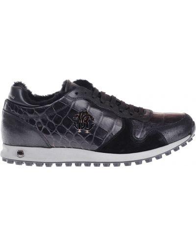 Кроссовки с мехом замшевые Roberto Cavalli
