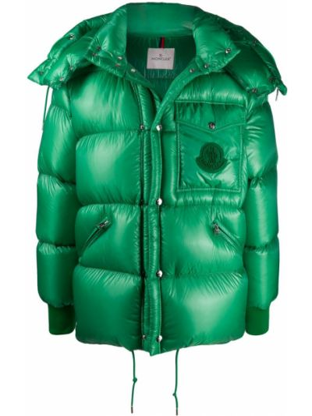 Zielona kurtka z kapturem z długimi rękawami Moncler