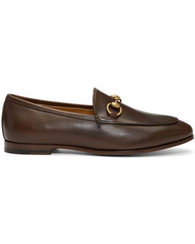 Brązowy loafers z prawdziwej skóry okrągły Gucci