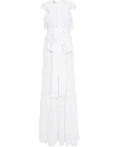 Хлопковое белое платье макси с подкладкой Elie Saab