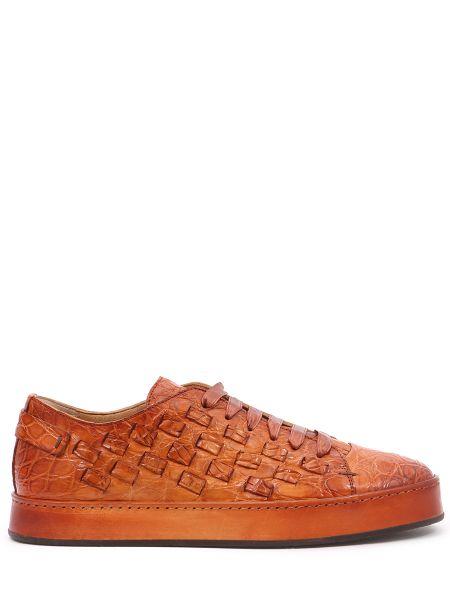 Коричневые кожаные кеды на шнуровке с декоративной отделкой Santoni