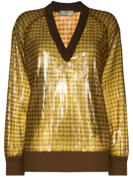 Шелковый коричневый свитер в рубчик с пайетками Fendi