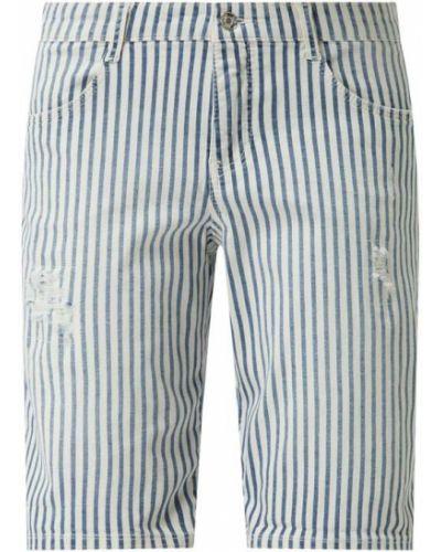 Białe bermudy jeansowe bawełniane w paski Mac