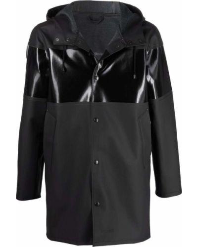 Czarny płaszcz przeciwdeszczowy z kapturem z długimi rękawami Stutterheim