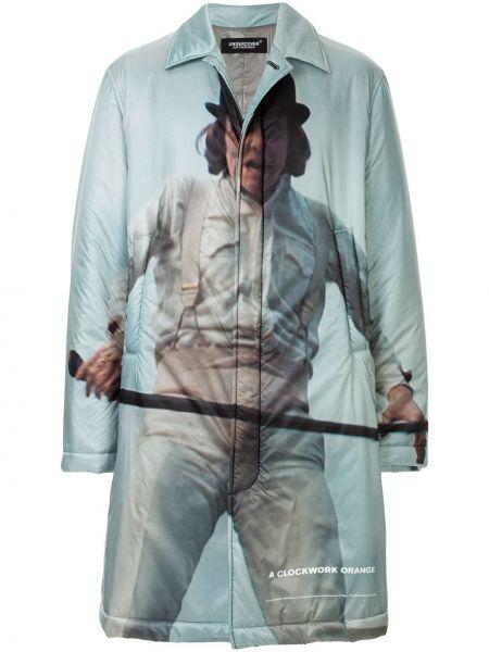 Niebieski płaszcz z nylonu z printem Undercover