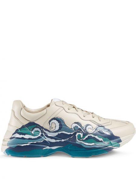 Szkoła skórzany biały skórzane sneakersy Gucci