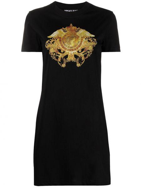 Трикотажное черное джинсовое платье с короткими рукавами Versace Jeans Couture