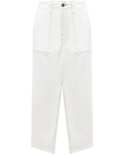 Хлопковая белая джинсовая юбка Ag