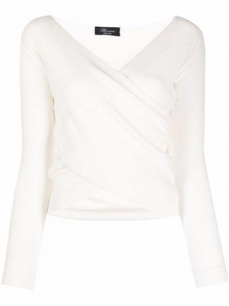 Белая блузка с V-образным вырезом Blumarine
