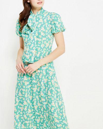 Бирюзовое прямое платье ли-лу